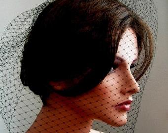 Black Wedding Veil Full Birdcage Veil in Black Color 18 Inches