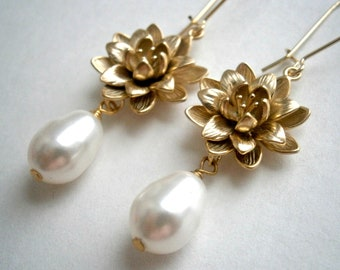 Pearl Gold Earrings With Intricate Flower Connectors And White Swarovski Crystal Pearls