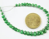 7 Inches- 4.5-8mm - Natural Green Tsavorite Faceted Pear Drop Beads Strand JE 787