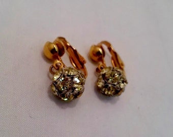 Vintage Sparkly Rhinestone green round disco ball Clip Earrings