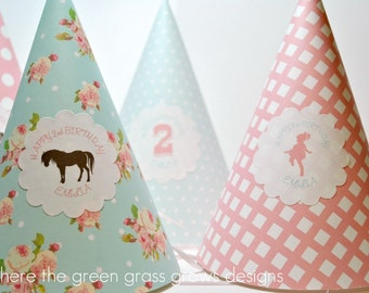 Shabby Chic Pony Party Hats
