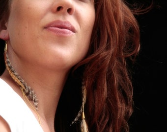 Liv Love,  long asymmetrical feather earrings with flowing chains, boho chic style