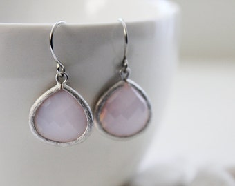 Pearl Pink Ice - Pearl Pink Glass Earrings in Silver. Everyday Wear. Modern Chic. Bridemaids Gift. Wedding Attire (SER-27)