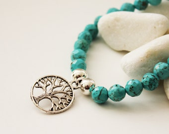 Tree of Life Bracelet. Turquoise Howlite (VBL-10)
