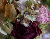 Fall Autumn Floral Arrangement Romantic Shabby Chic Cottage Garden Dried Rose, Peony and Hydrangea french organza ribbon