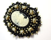 Black Gold and Ivory Cameo Brooch - Beaded Pin