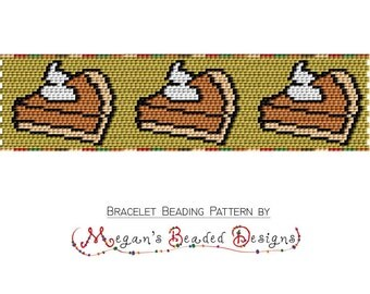 Pumpkin Pie 2 Drop Peyote Bracelet Beading Pattern for Thanksgiving Holidays - Digital PDF Commercial Selling OK