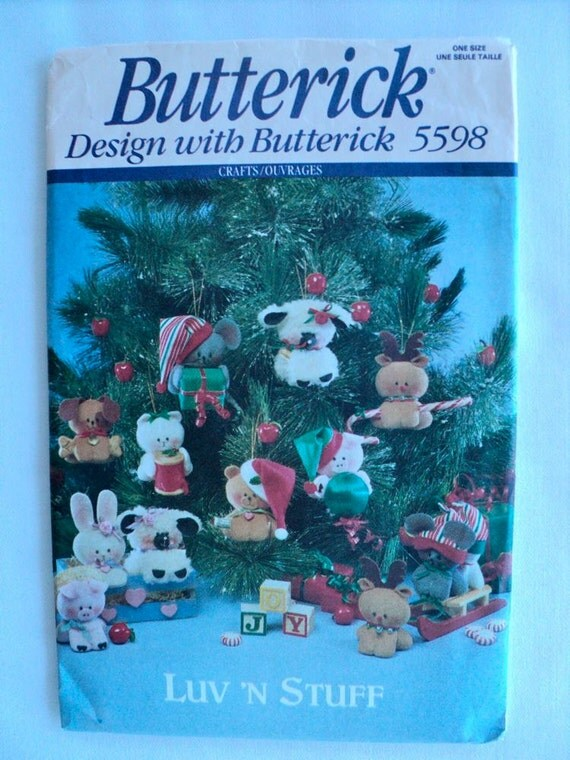 Vintage - Stuffed Animal Christmas Tree Ornaments Pattern - Butterick Pattern No. 5598