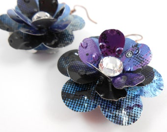 Simple Rose Earrings.  Recycled Soda Can Art.  DOUBLE-sided Earrings. Navy Blue
