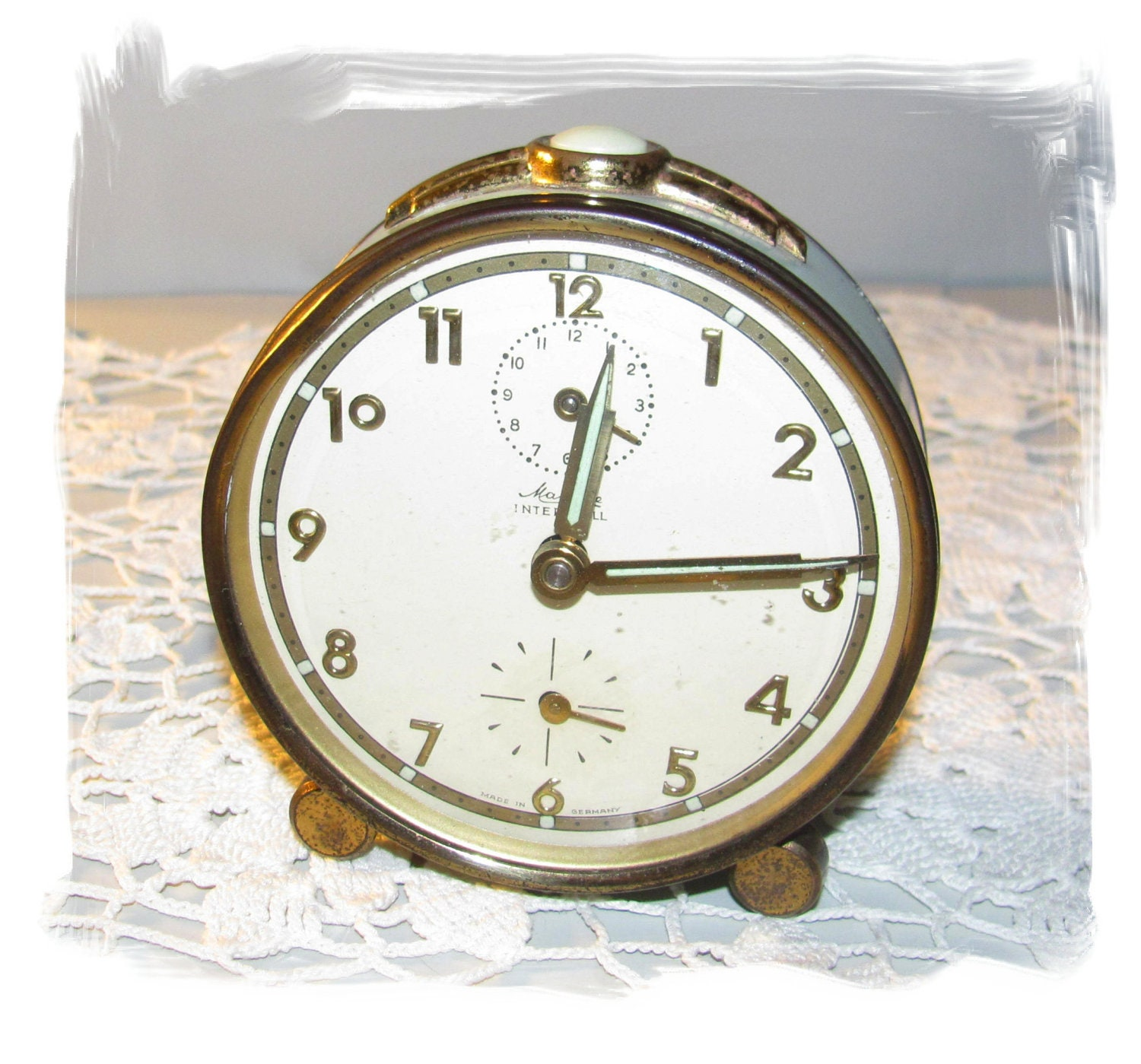 Rare vintage mauthe art deco alarm clock by joyfulmoondesigns Art deco alarm clocks