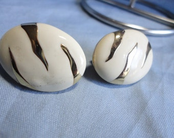 Gold Tone and Off White Enamel Oval Clip on Vintage Earrings