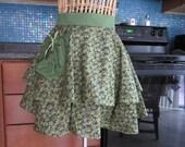 Green Half Apron, Green Layered Half Apron, Half Apron, Autumn half apron, Flirty Layered Half Apron