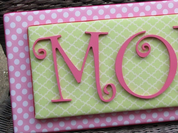 Pink and Green Stacked Name Plaque, 2-6 Letters, Dot Wall Letters, Pink and Green Nursery Letters, Painted Letters, Wood Letters,