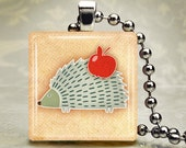 Little Porcupine Glass Tile Pendant with chain or cord or key chain