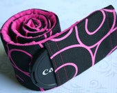 Camera Strap Cover with Lens Cap Pocket - Photographer Gift - Black/Pink Scroll with Fushia Padded Minky- MADE TO ORDER