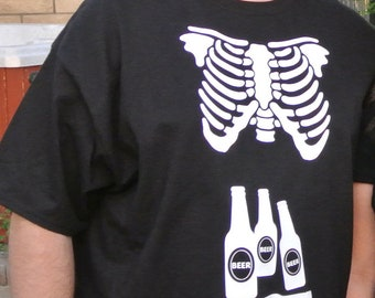 Skeleton Xray mens shirt match skeleton baby maternity shirt - great couples costume fun shirt for dad to be!