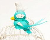 Blue bird ribbon sculpture hair clip / girl hair clip / baby hair clip / barrette.