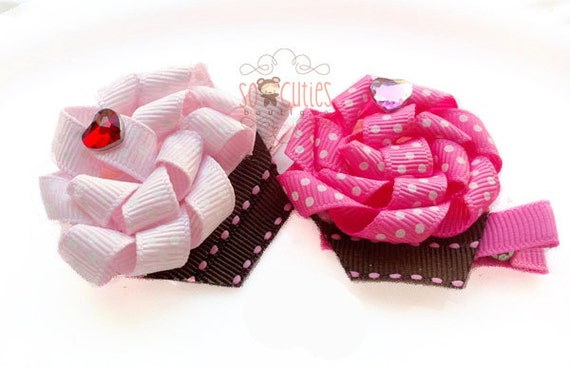 Pink strawberry cupcake ribbon sculpture hair clip / bay hair clip / girl hair clip / barrette - U pick flavor...
