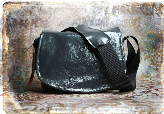 Leather Camera Bag -  Patent Leather and Tapestry Medium DSLR - IN STOCK