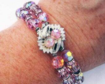 Sparkling Light Rose Aurora Borealis Double Strand Bead Bracelet