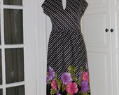 70s Dress, Disco, Secretary, Black/White, Striped, Graphic, Floral Hem, Nancy Greer, Size Medium