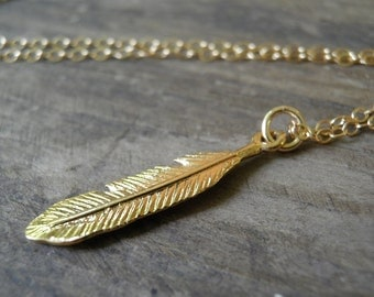 "Extra LONG 42"" Layer Gold Necklace, Feather Jewelry, Gold Feather Necklace, Minimalist Gold Charm Pendant, Delicate 14k Gold Filled Necklace"