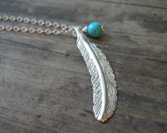 LONG Silver Necklace, Silver Feather Necklace, Feather Jewelry, Minimalist  Pendant, Turquoise necklace, Delicate Sterling Silver Necklace