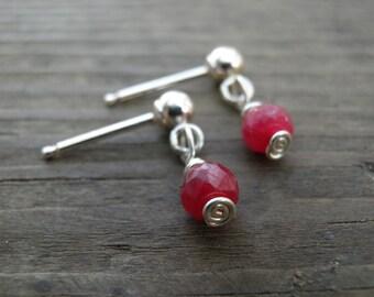 Valentines gift SALE Silver Stud Earrings, July Birthstone, Genuine Ruby Stud Earrings, Dangle Ruby Post Earrings, Minimalist Jewelry