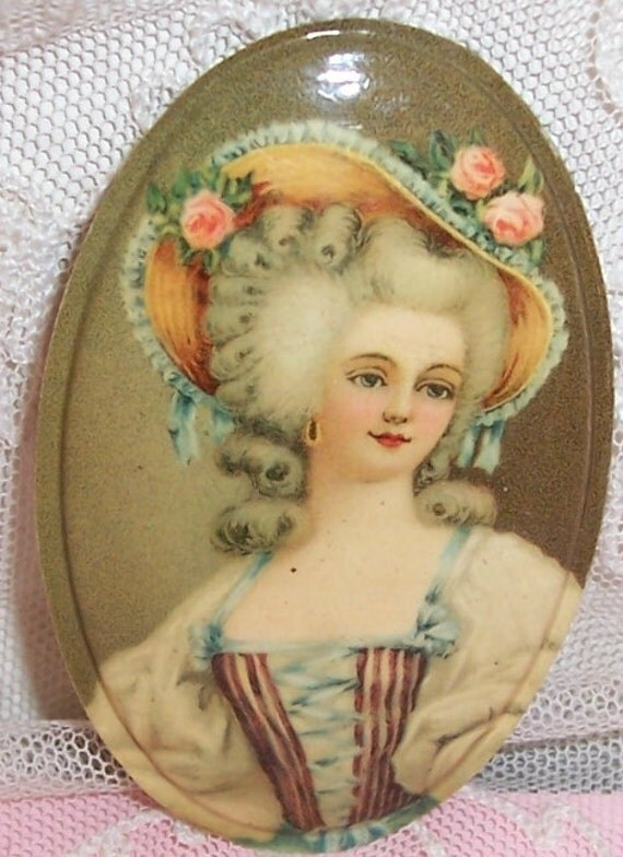 Set/6 Antique FRENCH Lady w/ ROSE Bonnet/Garden/Dance Scene CELLULOID Litho Picture/Plaque