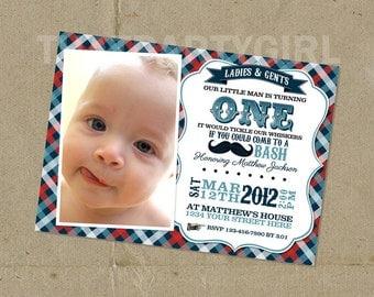 Little Man Birthday Party Invitations - DIY U Print