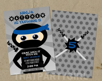 Ninja Birthday Party Invitations - DIY Digital U Print