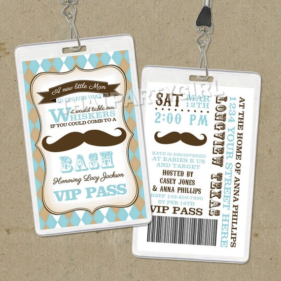 DIY Vintage Inspired Mustache Bash Party VIP Pass Style