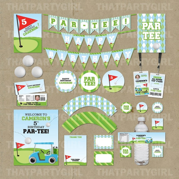 Golf Birthday PAR-TEE Party Package - Decorations Favors - DIY digital ...