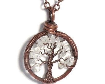 The Mini Winter Tree of Life Antiqued Copper Necklace in Crystal Quartz Stone.