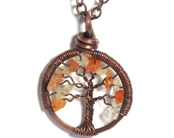 The Mini Autumn Tree of Life Antiqued Copper Necklace in Citrine and Carnelian Stone.