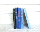 Blue Books Ombre Instant Library Collection Decorative Vintage Book Bundle Photography Props Shades of Blue. Coastal, Ocean