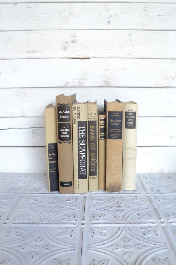 Tan & Black  Books Instant Library Collection Vintage Decorative Book Bundle Photography Props Brown