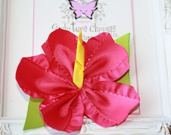 Hibiscus Flower. Hibiscus Ribbon Sculpture Bow. Hawaii Flower. luau Bow. Pick Color. Free Ship Promo.