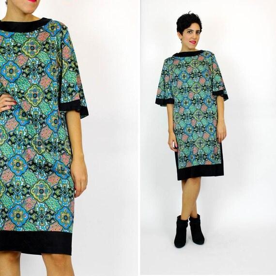 SALE print shift dress L / green mosaic bohemian pattern