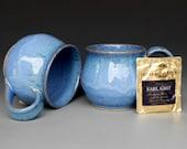 Blue Mug Ceramic Coffee Cup Blue Green Rim Round
