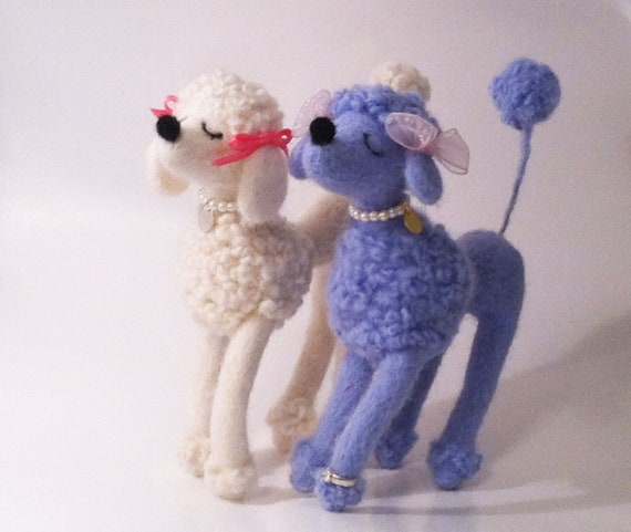 Needle Felted Snooty Poodle, Blue
