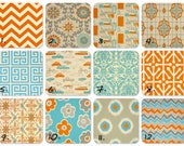 Decorative Throw Pillow Cover Orange and Turquoise on Natural 20 x 20 Inches - Chevron Pillows Greek Key Pillows