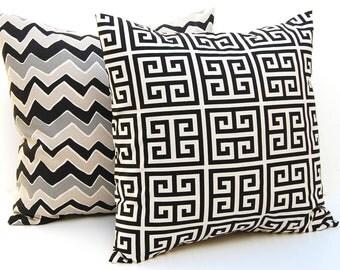 Decorative Throw Pillow Covers - Black Pillow Covers - Black Cushion Covers - Chevron Pillow -Greek Key Pillow - Black Decor - Black Pillow