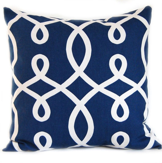 Decorative Pillows In Navy Blue : Pillow Throw Pillow Navy Blue Decorative by FestiveHomeDecor
