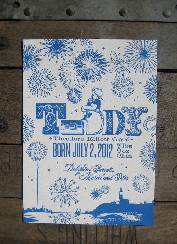 Fireworks at Night July 4th Letterpress Custom Birth Announcements