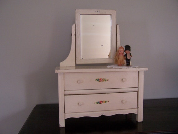 Vintage Wooden Toy Doll Dresser with Mirror - Shabby Chic - Cottage - SALE - NEW PRICE