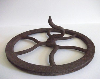 Vintage Cast Iron Wheel with Hook