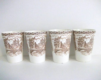 Vintage  Beakers  British Castle by Petrus Regout & Co Brown Transferware