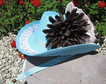 Cowgirl Hat -  Turquoise, Brown and Pink  - Girls Cowboy Hat - Girls Western Theme Party - Style CB49