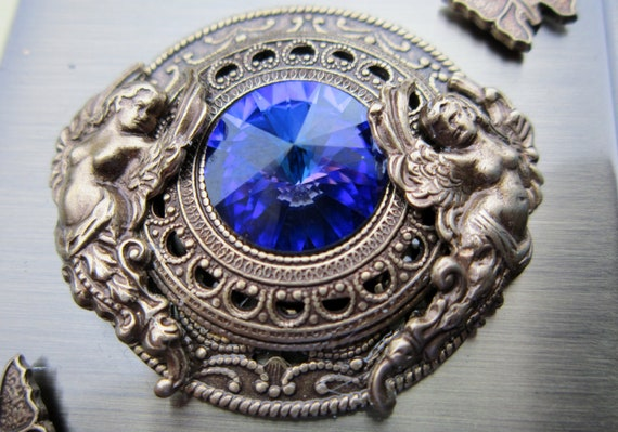 PILL BOX With Mirror Helitrope  Swarovski Crystal Guardian Angel